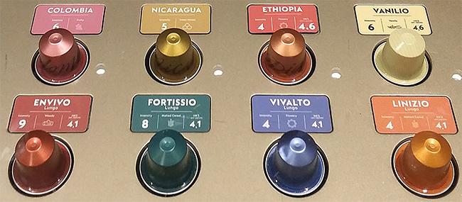 Intensiteten för olika Nespressokapslar